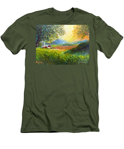 Men's T-Shirt (Slim Fit) featuring the painting Nixon's Majestic Farm View by Lee Nixon