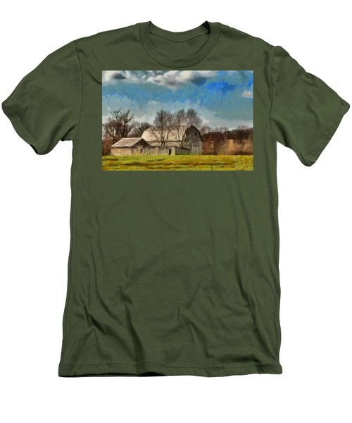 Men's T-Shirt (Slim Fit) featuring the mixed media Norman's Homestead by Trish Tritz