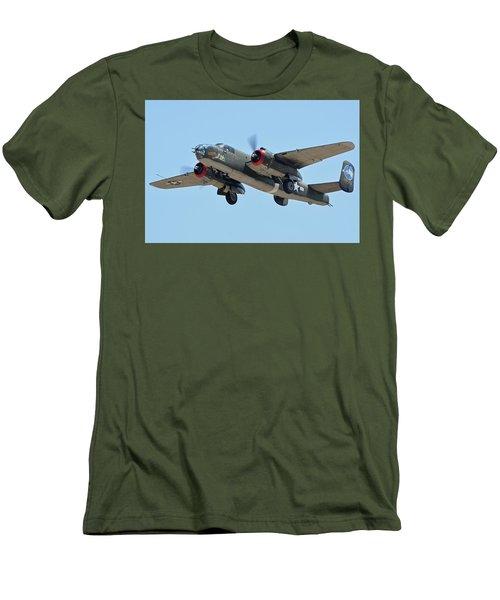 Men's T-Shirt (Slim Fit) featuring the photograph North American B-25j Mitchell Nl3476g Tondelayo Phoenix-mesa Gateway Airport Arizona April 15, 2016 by Brian Lockett