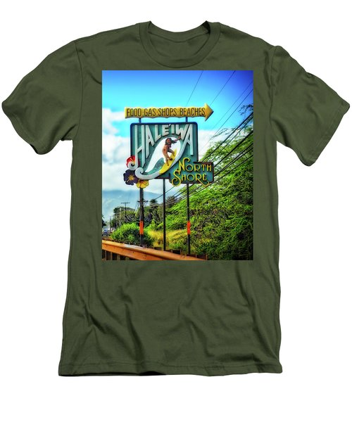 Men's T-Shirt (Slim Fit) featuring the photograph North Shore's Hale'iwa Sign by Jim Albritton