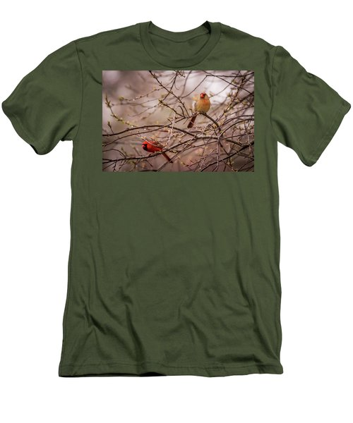 Men's T-Shirt (Slim Fit) featuring the photograph Northern Cardinal Pair In Spring by Terry DeLuco