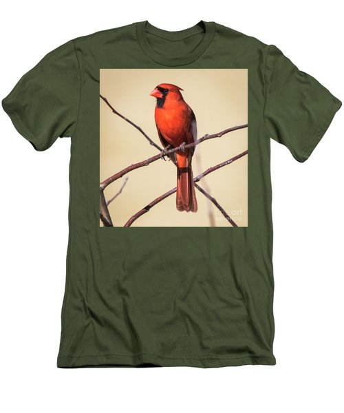 Northern Cardinal Profile Men's T-Shirt (Slim Fit) by Ricky L Jones