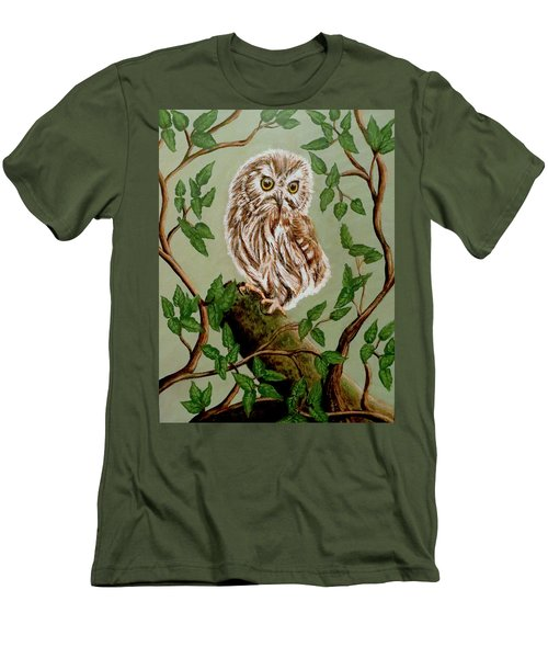 Northern Saw-whet Owl Men's T-Shirt (Slim Fit) by Teresa Wing