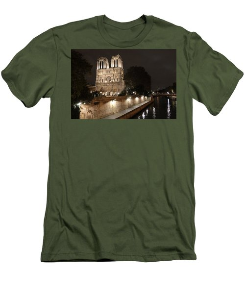 Men's T-Shirt (Slim Fit) featuring the photograph Notre Dame Cathedral From Petit Pont by Christopher Kirby