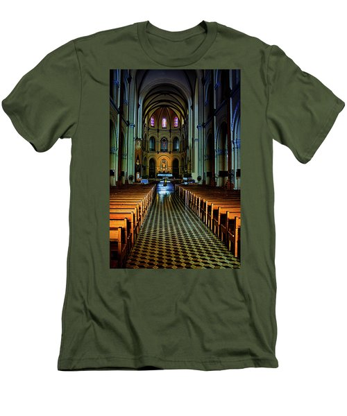 Men's T-Shirt (Slim Fit) featuring the photograph Notre Dame Cathedral Saigon by Joseph Hollingsworth