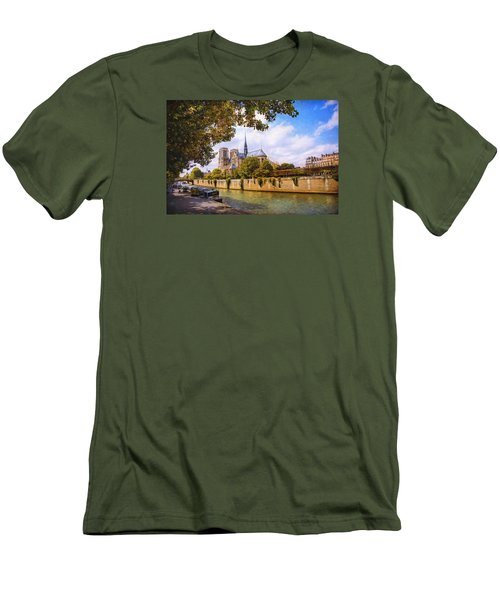 Men's T-Shirt (Slim Fit) featuring the photograph Notre Dame by John Rivera