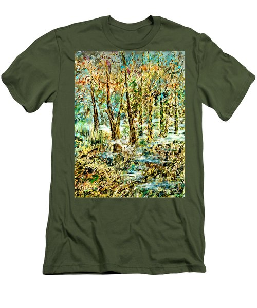 Men's T-Shirt (Slim Fit) featuring the painting November Morn by Alfred Motzer