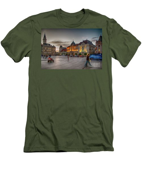 Novi Sad Liberty Square At Twilight Men's T-Shirt (Slim Fit) by Jivko Nakev