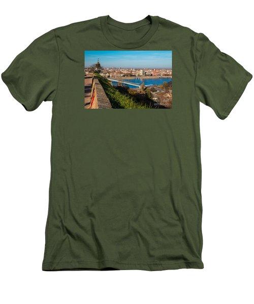 Men's T-Shirt (Slim Fit) featuring the photograph Novi Sad Vojvodina View From Petrovaradin Fortress by Jivko Nakev