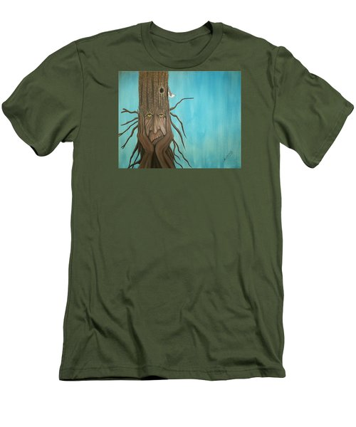 Men's T-Shirt (Slim Fit) featuring the painting Nuthatch by Edwin Alverio