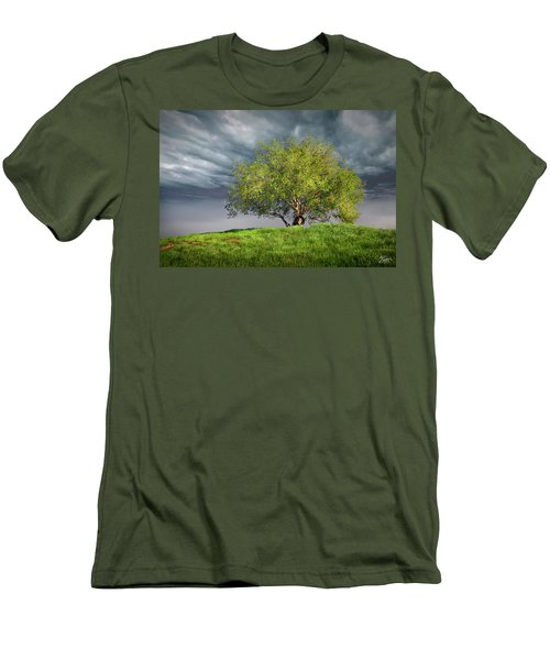Oak Tree With Tire Swing Men's T-Shirt (Slim Fit) by Endre Balogh