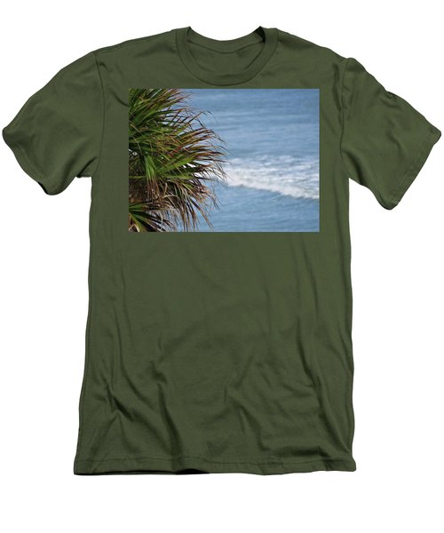 Ocean And Palm Leaves Men's T-Shirt (Slim Fit) by Kathy Long