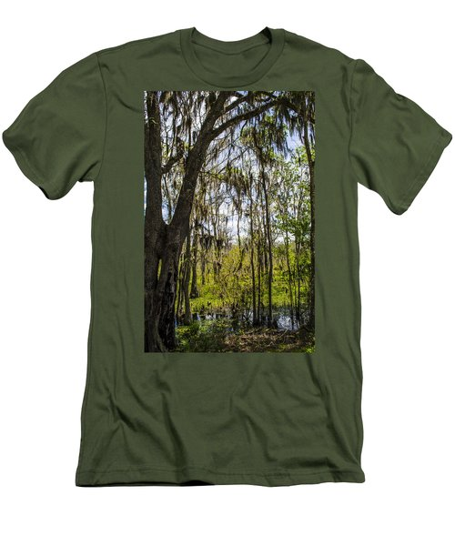 Men's T-Shirt (Slim Fit) featuring the photograph Ocklawaha Spanish Moss In The Swamp by Deborah Smolinske