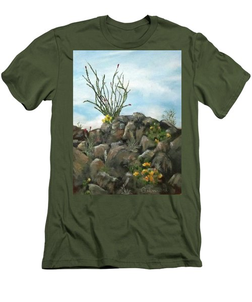 Men's T-Shirt (Slim Fit) featuring the painting Ocotillo In Bloom by Roseann Gilmore
