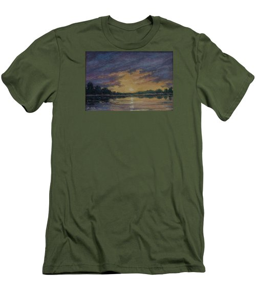 Men's T-Shirt (Slim Fit) featuring the painting Offshore Sunset Sketch by Kathleen McDermott