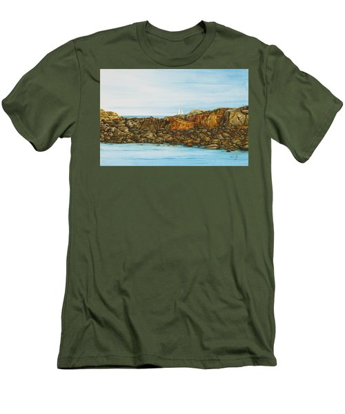 Ogunquit Maine Sail And Rocks Men's T-Shirt (Athletic Fit)