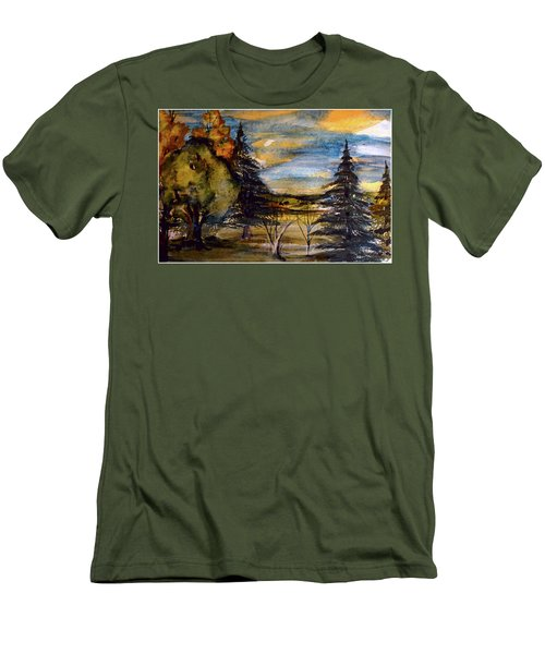Men's T-Shirt (Slim Fit) featuring the painting Ohio Sunset by Mindy Newman