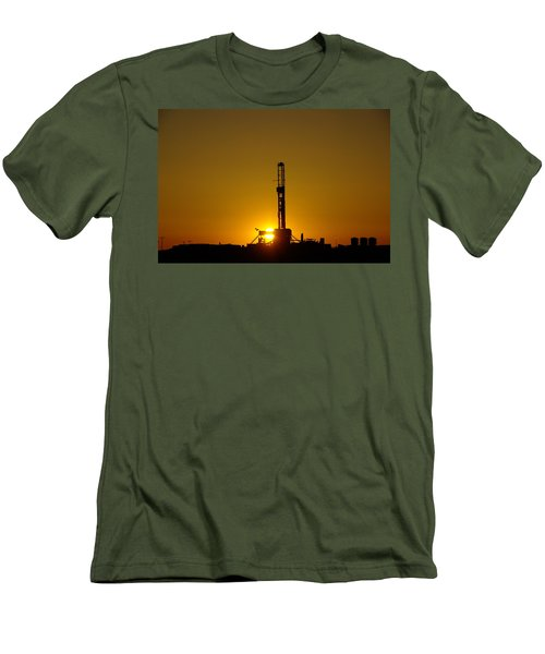 Oil Rig Near Killdeer In The Morn Men's T-Shirt (Slim Fit) by Jeff Swan