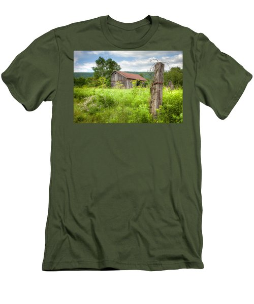 Men's T-Shirt (Slim Fit) featuring the photograph Old Barn Near Stryker Rd. Rustic Landscape by Gary Heller