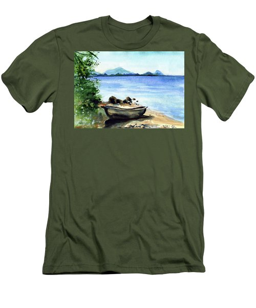 Men's T-Shirt (Athletic Fit) featuring the painting Old Carved Boat At Lake Malawi by Dora Hathazi Mendes