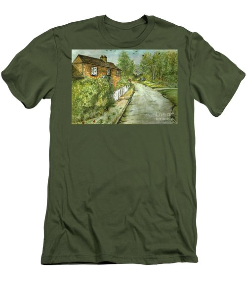 Men's T-Shirt (Slim Fit) featuring the painting Old English Cottage by Teresa White