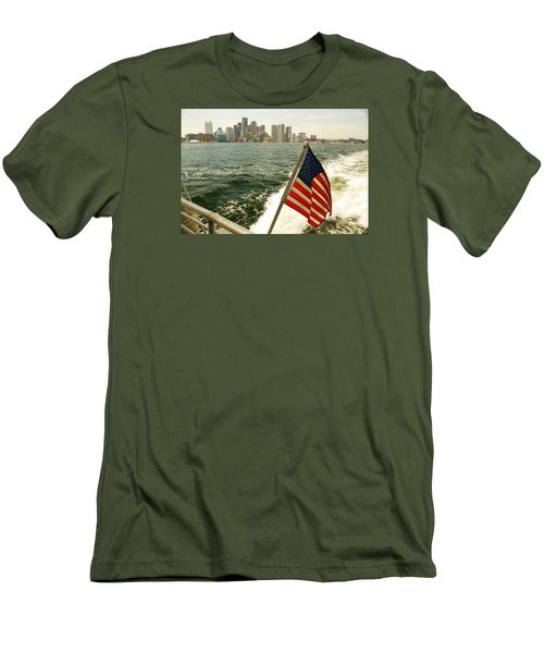 Old Glory On Boston Harbor Men's T-Shirt (Slim Fit) by James Kirkikis