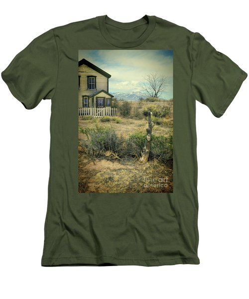Men's T-Shirt (Slim Fit) featuring the photograph Old House Near Mountians by Jill Battaglia
