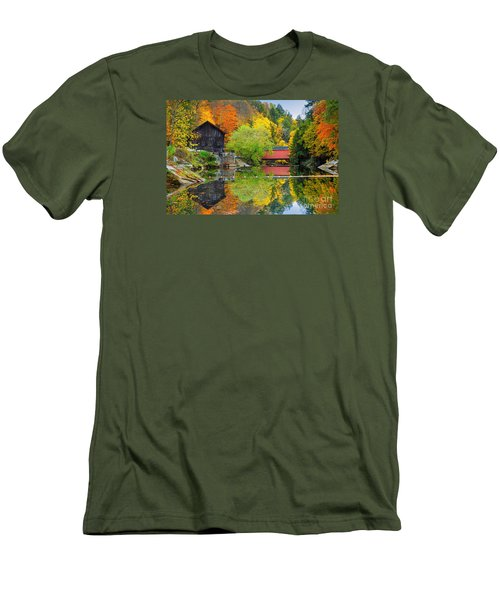 Old Mill In The Fall  Men's T-Shirt (Slim Fit) by Emmanuel Panagiotakis