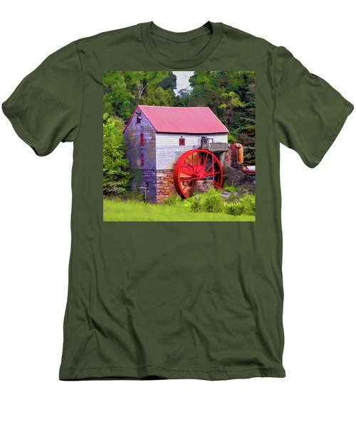 Old Mill Of Guilford Painted Square Men's T-Shirt (Slim Fit) by Sandi OReilly