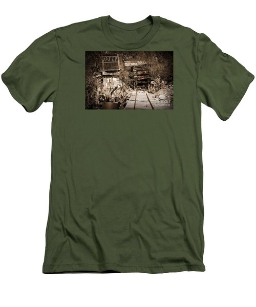 Old Mining Tracks Men's T-Shirt (Slim Fit) by Kirt Tisdale