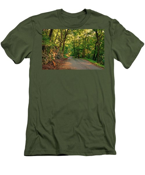 Men's T-Shirt (Slim Fit) featuring the photograph Old Plank Road by Cricket Hackmann