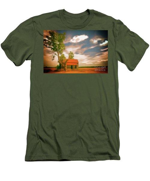 Old Rustic Vintage Farm House And Tree Ap Men's T-Shirt (Slim Fit) by Dan Carmichael