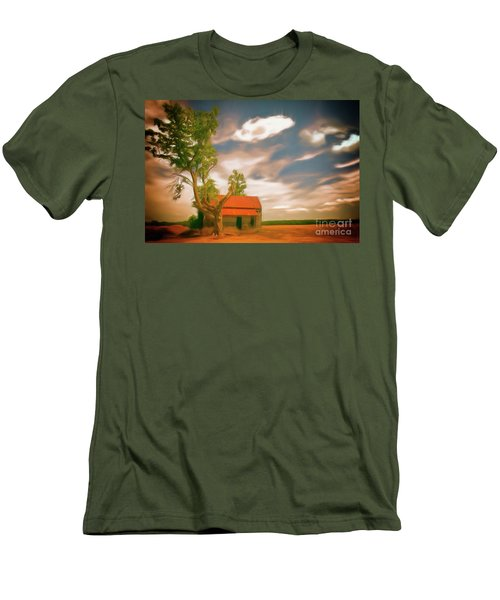 Old Rustic Vintage Farm House And Tree Ap Men's T-Shirt (Athletic Fit)