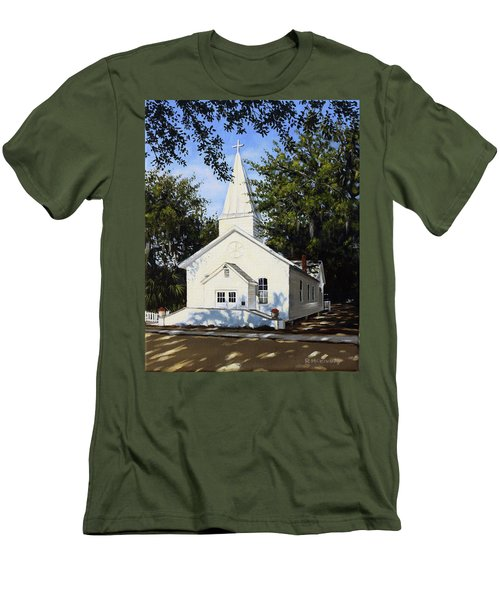 Men's T-Shirt (Slim Fit) featuring the painting Old St. Andrew Church by Rick McKinney