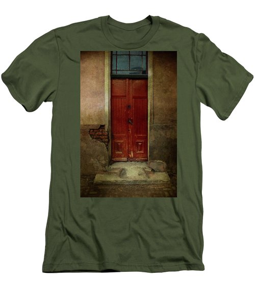 Old Wooden Gate Painted In Red  Men's T-Shirt (Slim Fit) by Jaroslaw Blaminsky