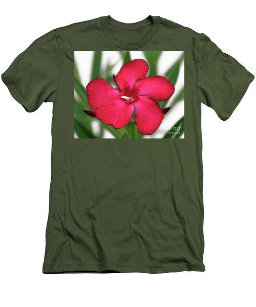Men's T-Shirt (Slim Fit) featuring the photograph Oleander Blood-red Velvet 1 by Wilhelm Hufnagl
