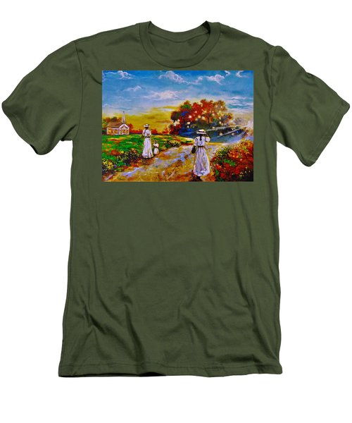 Men's T-Shirt (Slim Fit) featuring the painting On My Way Home by Emery Franklin