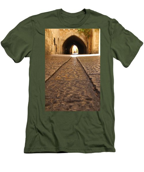 On The Way To The Western Wall - The Kotel - Old City, Jerusalem, Israel Men's T-Shirt (Slim Fit) by Yoel Koskas