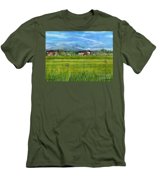 Men's T-Shirt (Slim Fit) featuring the painting On The Way To Ubud 3 Bali Indonesia by Melly Terpening
