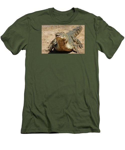 Men's T-Shirt (Slim Fit) featuring the photograph One Crazy Saltwater Crocodile by Gary Crockett