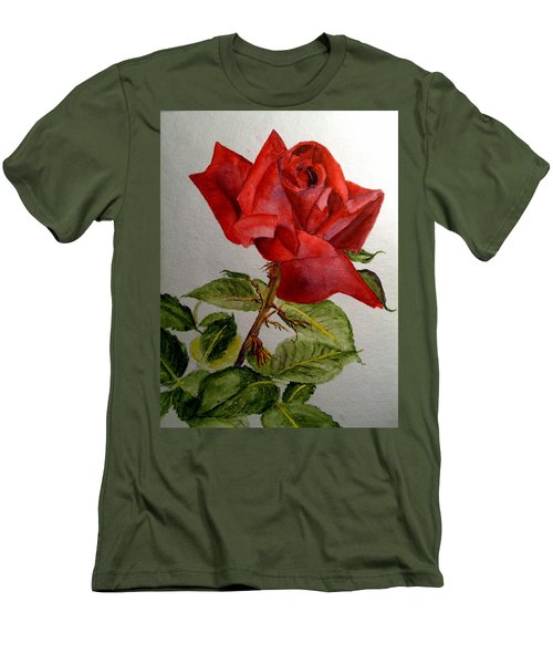 One Single Red Rose Men's T-Shirt (Slim Fit) by Carol Grimes