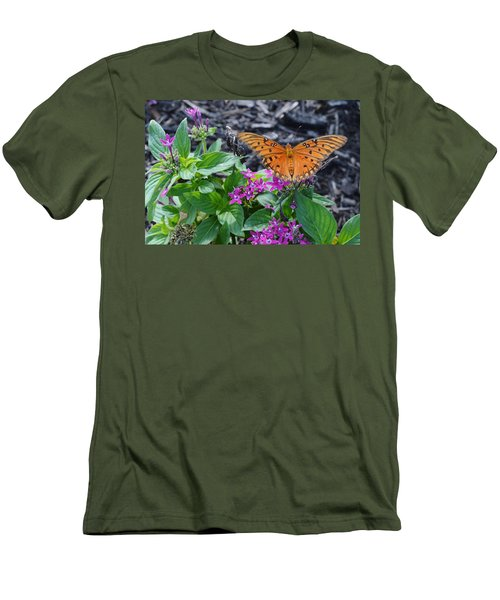 Open Wings Of The Gulf Fritillary Butterfly Men's T-Shirt (Athletic Fit)