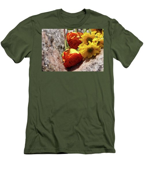 Orange And Yellow On Pink Granite Men's T-Shirt (Athletic Fit)