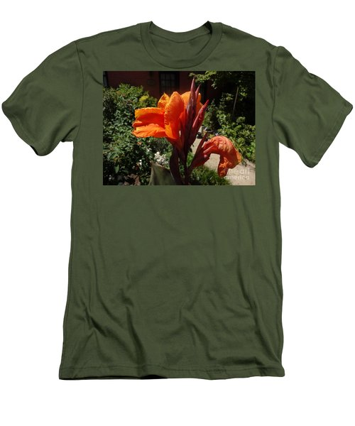 Orange Canna Lily Men's T-Shirt (Slim Fit) by Rod Ismay