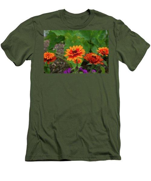 Orange Flowers Men's T-Shirt (Slim Fit) by Cathy Harper