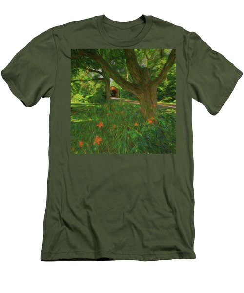 Men's T-Shirt (Athletic Fit) featuring the photograph Orange Flowers by Lewis Mann