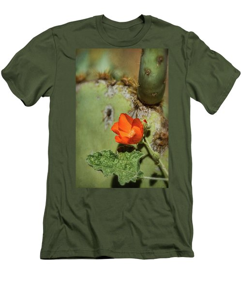 Men's T-Shirt (Athletic Fit) featuring the photograph Orange Globemallow And Prickly Pear by Saija Lehtonen