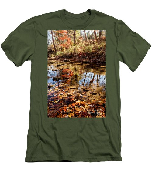 Men's T-Shirt (Slim Fit) featuring the photograph Orange Leaves by Iris Greenwell