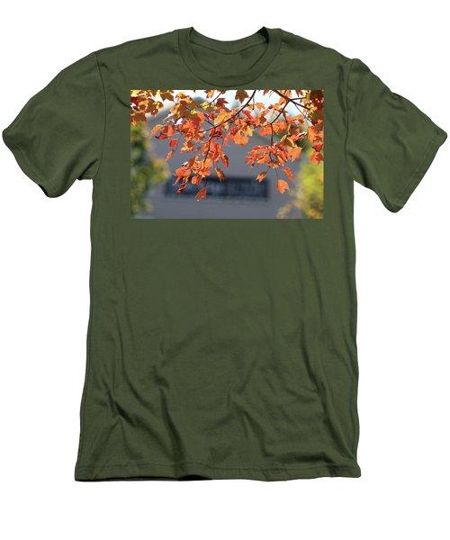 Orange Leaves Of Autumn Men's T-Shirt (Slim Fit) by Michele Wilson