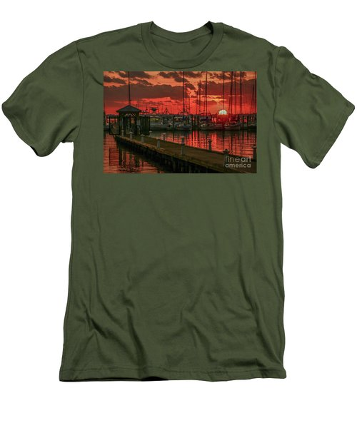 Orange Marina Sunrise Men's T-Shirt (Athletic Fit)